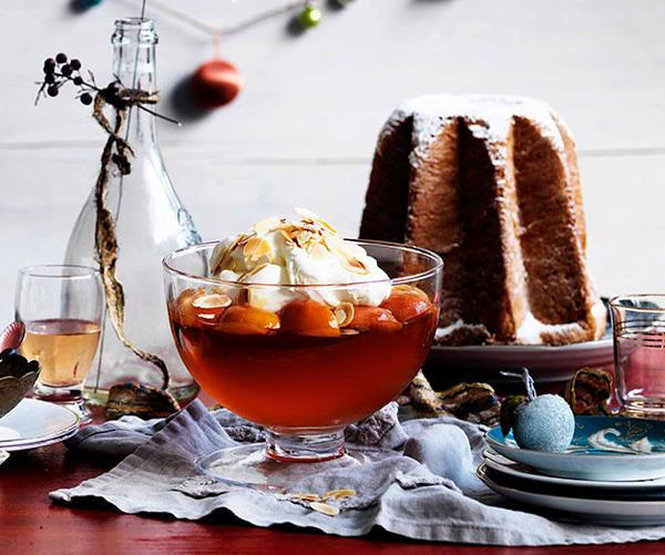 "[**Prosecco and peach jelly with mascarpone and pandoro**](https://www.gourmettraveller.com.au/recipes/browse-all/prosecco-and-peach-jelly-with-mascarpone-and-pandoro-10890|target=""_blank"")"