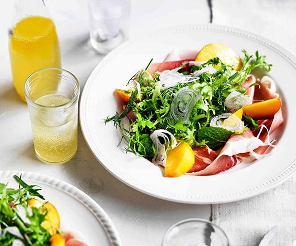 "[**Herb salad with peaches and prosciutto**](https://www.gourmettraveller.com.au/recipes/browse-all/herb-salad-with-peaches-and-prosciutto-11610|target=""_blank"")"