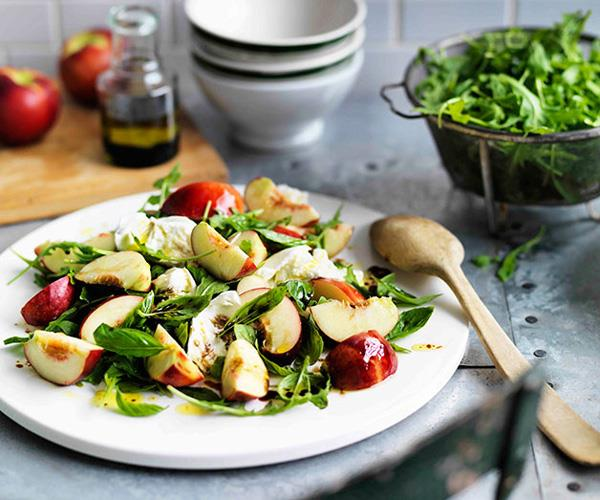 "[**Nectarine, buffalo mozzarella and rocket salad**](https://www.gourmettraveller.com.au/recipes/browse-all/nectarine-buffalo-mozzarella-and-rocket-salad-11617|target=""_blank"")"