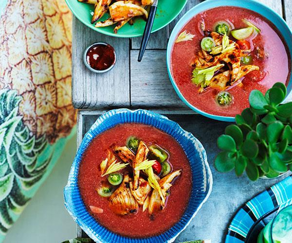 """**[Chilled spiced tomato soup with barbecued squid](https://www.gourmettraveller.com.au/recipes/browse-all/chilled-spiced-tomato-soup-with-barbecued-squid-11853