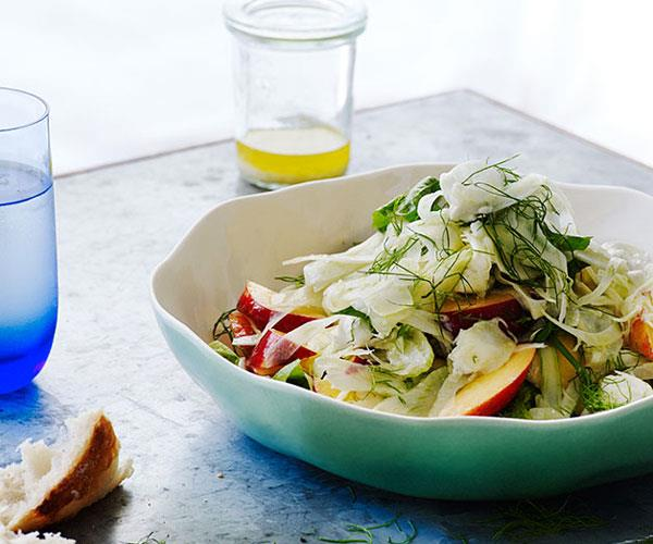 """[**Nectarine, fennel, chevre and mint**](https://www.gourmettraveller.com.au/recipes/browse-all/nectarine-fennel-chevre-and-mint-12185