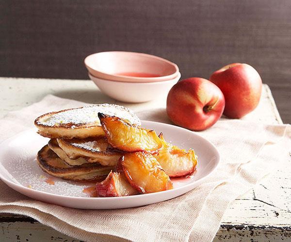"[**Buttermilk pancakes with glazed white nectarines**](https://www.gourmettraveller.com.au/recipes/browse-all/buttermilk-pancakes-with-glazed-white-nectarines-9838|target=""_blank"")"