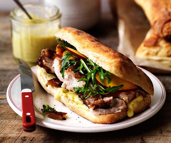 "[**Porchetta, crackling and nectarine relish on ciabatta**](https://www.gourmettraveller.com.au/recipes/browse-all/porchetta-crackling-and-nectarine-relish-on-ciabatta-11515|target=""_blank"")"