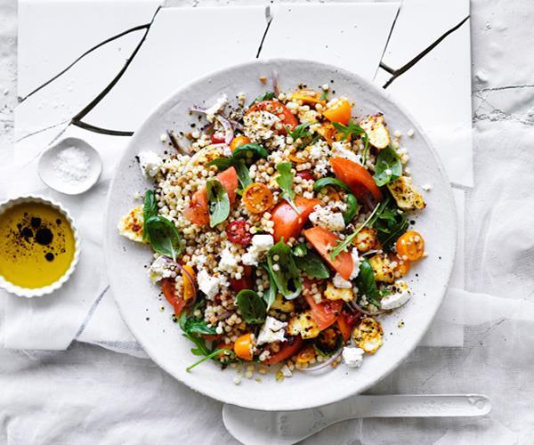 "**[Tomato, ricotta and fregola salad](https://www.gourmettraveller.com.au/recipes/browse-all/tomato-ricotta-and-fregola-salad-12897|target=""_blank"")**"