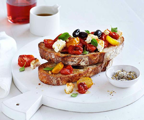 """[**Scorched tomatoes and feta on sourdough**](https://www.gourmettraveller.com.au/recipes/fast-recipes/scorched-tomatoes-and-feta-on-sourdough-13284