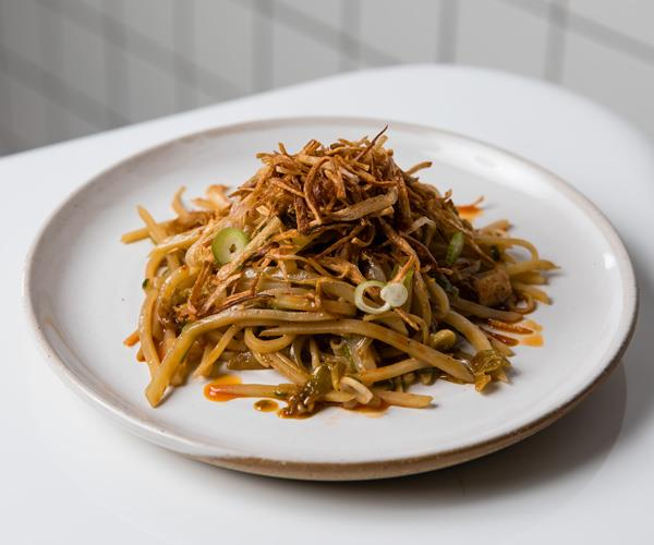 Hot and sour shredded potato, Chinkiang black vinegar, pickled enoki.