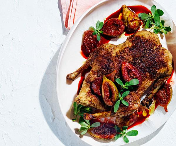 "**[Spice-roasted duck with figs](https://www.gourmettraveller.com.au/recipes/browse-all/spice-roasted-duck-figs-18039|target=""_blank"")**"