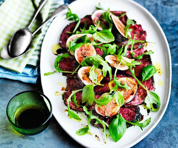 "[**Beef carpaccio with figs and rocket**](https://www.gourmettraveller.com.au/recipes/browse-all/beef-carpaccio-with-figs-and-rocket-11644|target=""_blank"")"