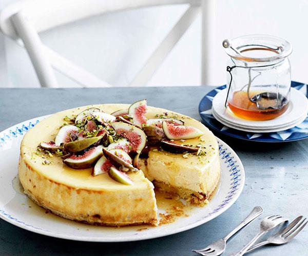 "[**Goat's cheese cake with figs and honey**](https://www.gourmettraveller.com.au/recipes/browse-all/goats-cheese-cake-with-figs-and-honey-10834|target=""_blank"")"