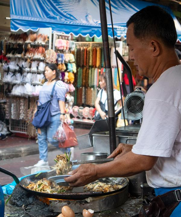 A pad Thai vendor in Bangkok's Chinatown.