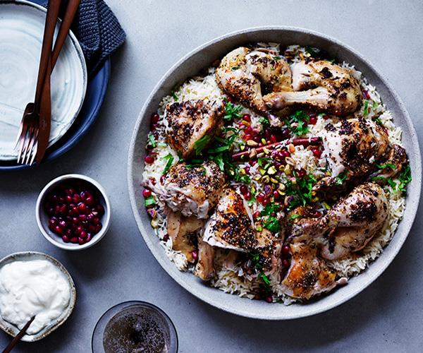 """**[Za'atar roast chicken with pilaf, pomegranate and nuts](https://www.gourmettraveller.com.au/recipes/browse-all/zaatar-roast-chicken-with-pilaf-pomegranate-and-nuts-12500