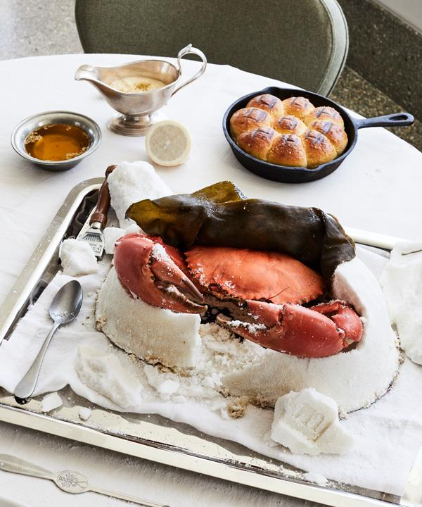 Salt-baked mud crab with salted brioche.