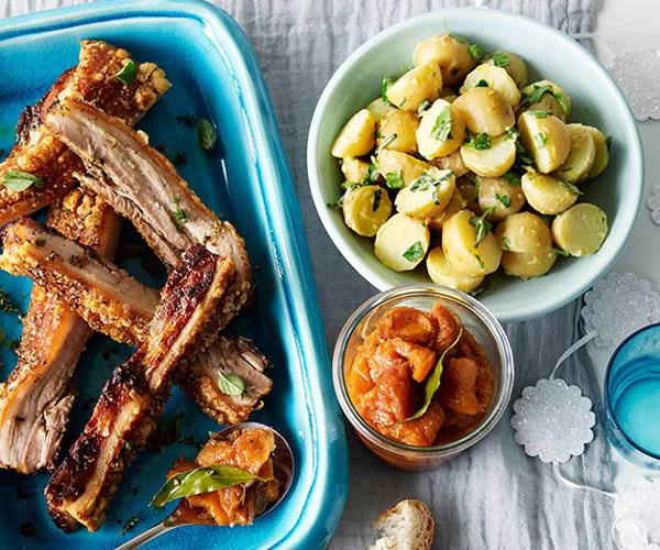 "**[Roast pork belly with peach relish and potato and parsley salad](https://www.gourmettraveller.com.au/recipes/browse-all/roast-pork-belly-with-peach-relish-and-potato-and-parsley-salad-11180|target=""_blank"")**"