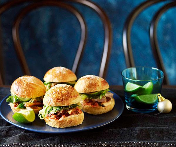 "**[Roast pork belly and kimchi burgers](https://www.gourmettraveller.com.au/recipes/chefs-recipes/roast-pork-belly-and-kimchi-burgers-9010|target=""_blank"")**"