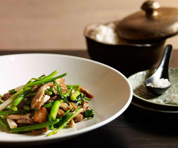 "**[Neil Perry's stir-fried salt pork with garlic chives and garlic stems](https://www.gourmettraveller.com.au/recipes/chefs-recipes/neil-perry-stir-fried-salt-pork-with-garlic-chives-and-garlic-stems-7462|target=""_blank"")**"
