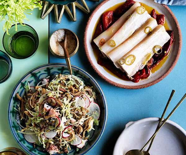 """[**Bodega's pork belly and bullhorn peppers**](https://www.gourmettraveller.com.au/recipes/chefs-recipes/bodegas-pork-belly-and-bullhorn-peppers-8445 target=""""_blank"""")"""