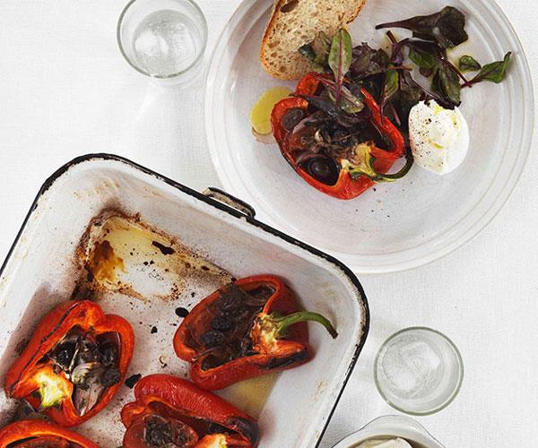 "**[Roast capsicum with tomato, garlic and olives](https://www.gourmettraveller.com.au/recipes/fast-recipes/roast-capsicum-with-tomato-garlic-and-olives-13141|target=""_blank"")**"