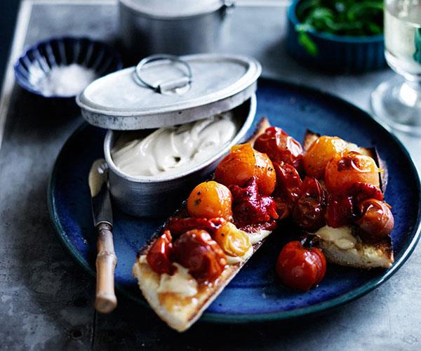 "**[Anchoïade toasts with roasted tomatoes and capsicum](https://www.gourmettraveller.com.au/recipes/browse-all/anchoiade-toasts-with-roasted-tomatoes-and-capsicum-12077|target=""_blank"")**"