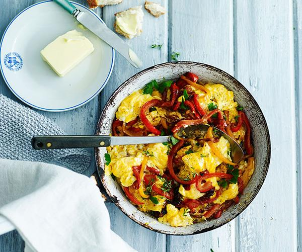 "**[Eggs piperade](https://www.gourmettraveller.com.au/recipes/fast-recipes/eggs-piperade-13639|target=""_blank"")**"