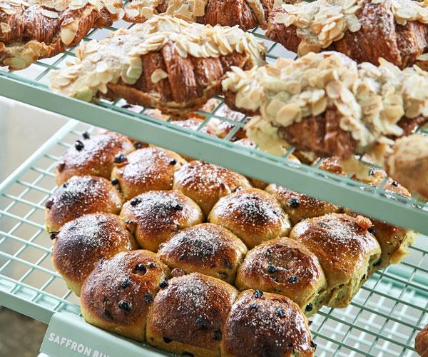 Almond croissants and saffron buns.