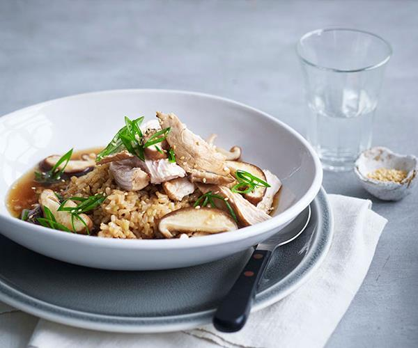 "**[Soy-poached chicken, brown rice and shiitake mushrooms](https://www.gourmettraveller.com.au/recipes/fast-recipes/soy-poached-chicken-brown-rice-and-shiitake-mushrooms-13388|target=""_blank"")**"