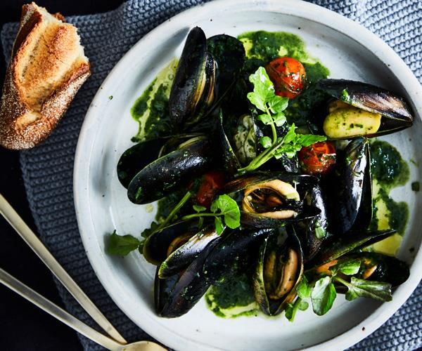 """**[Banksii's mussels with vermouth, green olives and nettle butter](https://www.gourmettraveller.com.au/recipes/chefs-recipes/banksiis-mussels-with-vermouth-green-olives-and-nettle-butter-9323