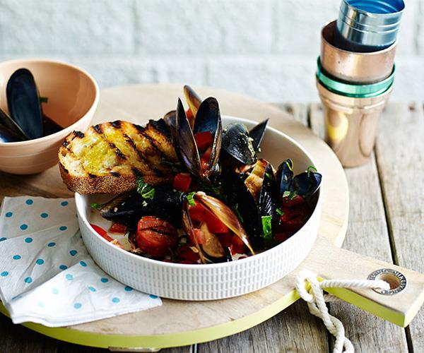 """**[Barbecued mussels with chorizo and toast](https://www.gourmettraveller.com.au/recipes/fast-recipes/barbecued-mussels-with-chorizo-and-toast-13554