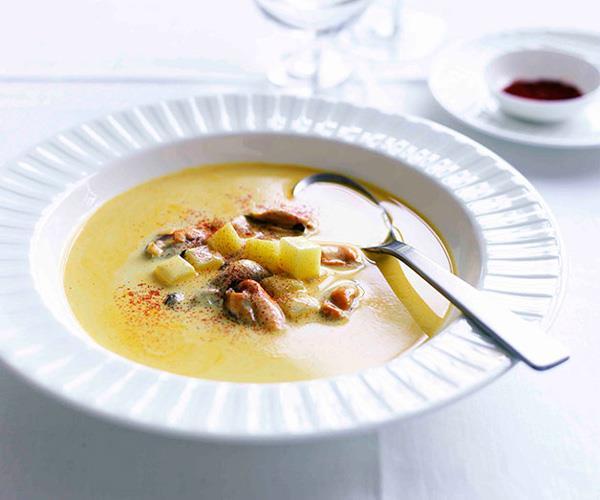 """**[Marco Pierre White's mussel and saffron soup](https://www.gourmettraveller.com.au/recipes/chefs-recipes/mussel-and-saffron-soup-7829 target=""""_blank"""")**"""