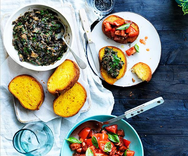 "**[Butter-fried bread with eggplant and herbs by René Redzepi & Nadine Levy Redzepi](https://www.gourmettraveller.com.au/recipes/chefs-recipes/butter-fried-bread-with-eggplant-and-herbs-8379|target=""_blank"")**"