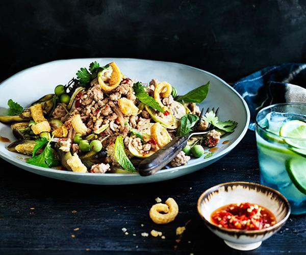 "**[Pork and eggplant salad with salted chilli](https://www.gourmettraveller.com.au/recipes/browse-all/pork-and-eggplant-salad-with-salted-chilli-12194|target=""_blank"")**"
