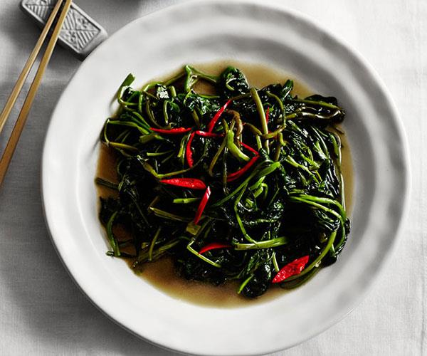 "**[Flower Drum's stir-fried water spinach with preserved bean curd (fu yu ong choy)](https://www.gourmettraveller.com.au/recipes/chefs-recipes/stir-fried-water-spinach-with-preserved-bean-curd-fu-yu-ong-choy-8107|target=""_blank"")**"