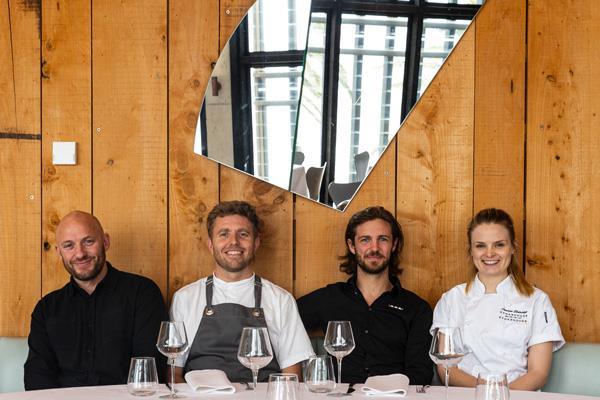 From left: group sommelier Gavin Cremming, executive chef Jason Staudt, restaurant manager Hugh van Haandel, and group pastry chef Lauren Eldridge.