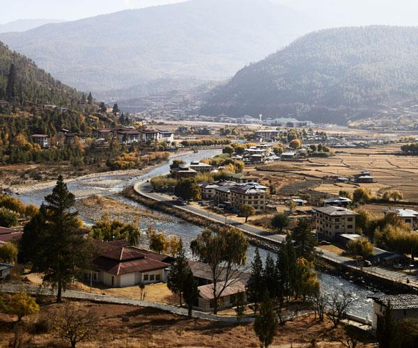 A view over the city of Paro.