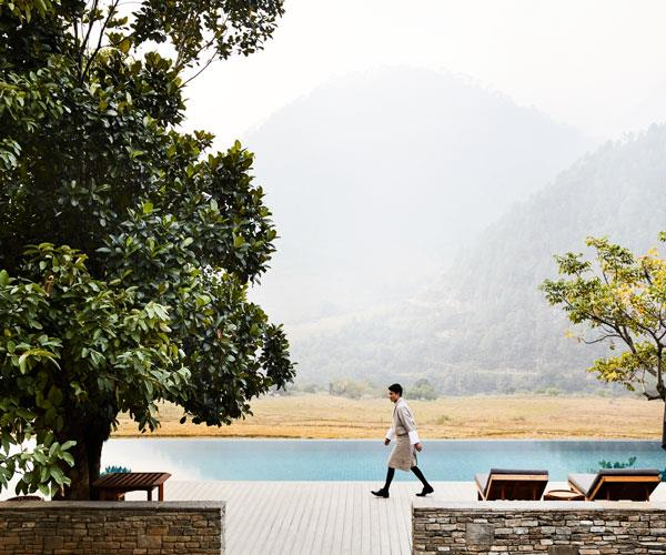 The view from the pool at Amankora Punakha.