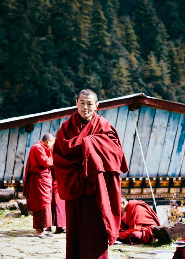 A Buddhist monk at Dodeydrak Monastery's Buddhist Institute.