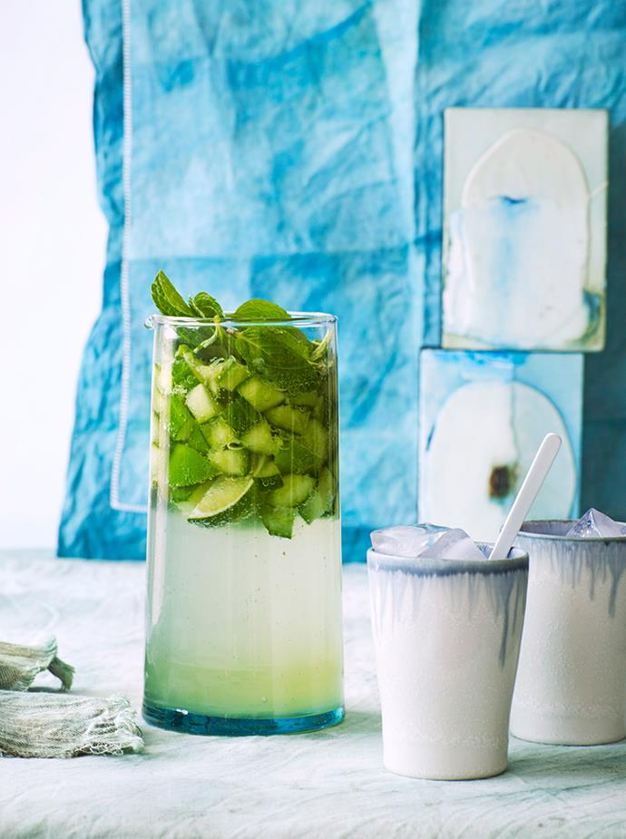 """[**Cucumber and gin punch**](https://www.gourmettraveller.com.au/recipes/browse-all/cucumber-and-gin-punch-11116