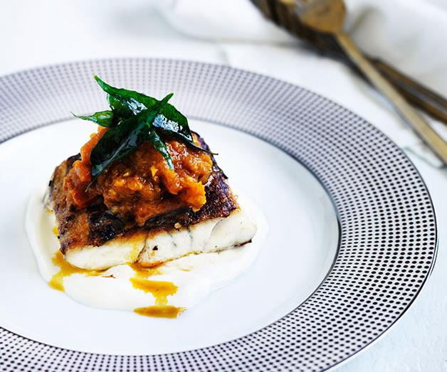 "**[Christine Manfield's spiced barramundi with tomato-chilli pickle](https://www.gourmettraveller.com.au/recipes/chefs-recipes/spiced-barramundi-with-tomato-chilli-pickle-8538|target=""_blank"")**"