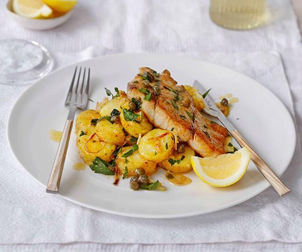 "**[Roast barramundi with kipfler potatoes and celeriac](https://www.gourmettraveller.com.au/recipes/fast-recipes/roast-barramundi-with-kipfler-potatoes-and-celeriac-13360|target=""_blank"")**"