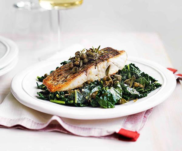 "**[Barramundi with cavolo nero and capers](https://www.gourmettraveller.com.au/recipes/fast-recipes/barramundi-with-cavolo-nero-and-capers-13322|target=""_blank"")**"