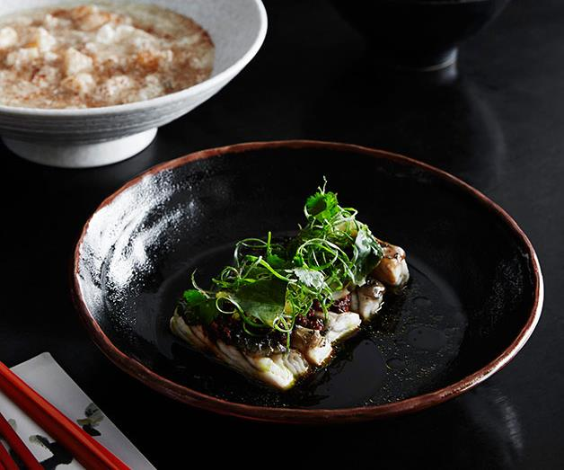 "**[Lee Ho Fook's steamed barramundi, chilli black beans and pickled mustard greens](https://www.gourmettraveller.com.au/recipes/chefs-recipes/steamed-barramundi-chilli-black-beans-and-pickled-mustard-greens-8307|target=""_blank"")**"