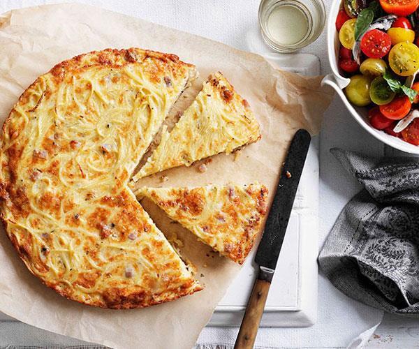 "[**Triple-cheese pasta and pancetta frittata**](https://www.gourmettraveller.com.au/recipes/fast-recipes/triple-cheese-pasta-and-pancetta-frittata-13328|target=""_blank"")"