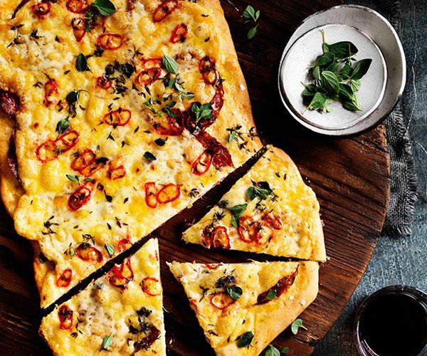 """[**Four-cheese and sopressa pizza with chilli**](https://www.gourmettraveller.com.au/recipes/browse-all/four-cheese-and-sopressa-pizza-with-chilli-11484