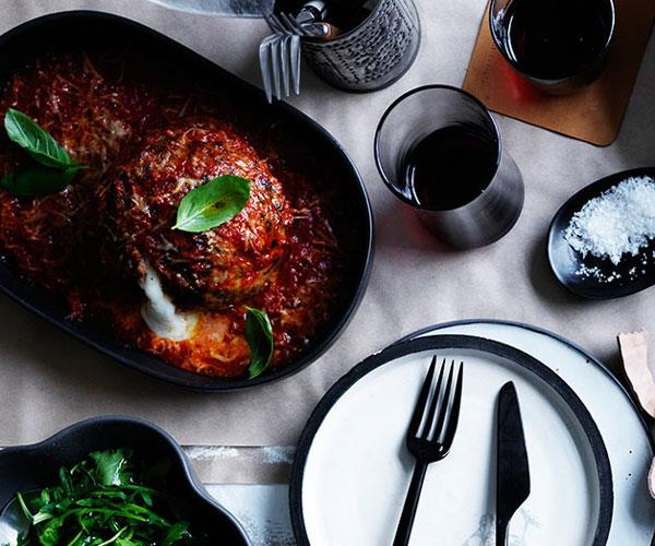 """[**Giant meatballs stuffed with mozzarella**](https://www.gourmettraveller.com.au/recipes/browse-all/giant-meatballs-stuffed-with-mozzarella-12232