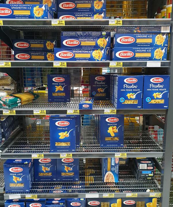 Barilla pasta stock is plentiful.