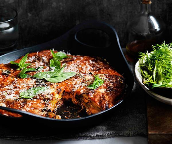 "**[Eggplant parmigiana](https://www.gourmettraveller.com.au/recipes/browse-all/eggplant-parmigiana-11486|target=""_blank""|rel=""nofollow"")**"