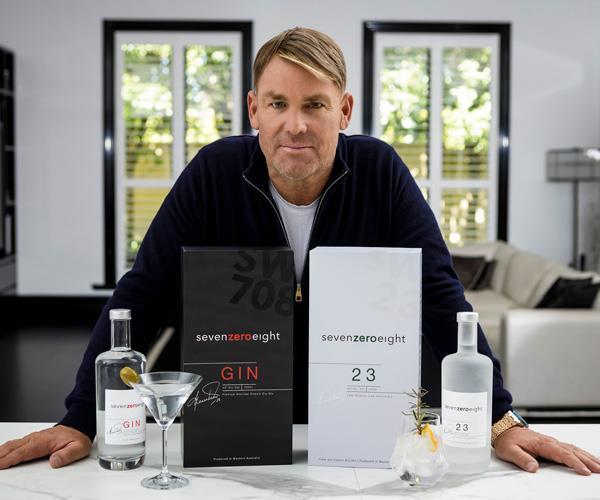 Shane Warne with SevenZeroEight gin.
