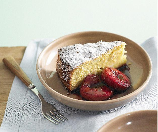 """**[Almond lemon cake with roasted plums](https://www.gourmettraveller.com.au/recipes/chefs-recipes/almond-lemon-cake-with-roasted-plums-8804 target=""""_blank"""" rel=""""nofollow"""")**"""