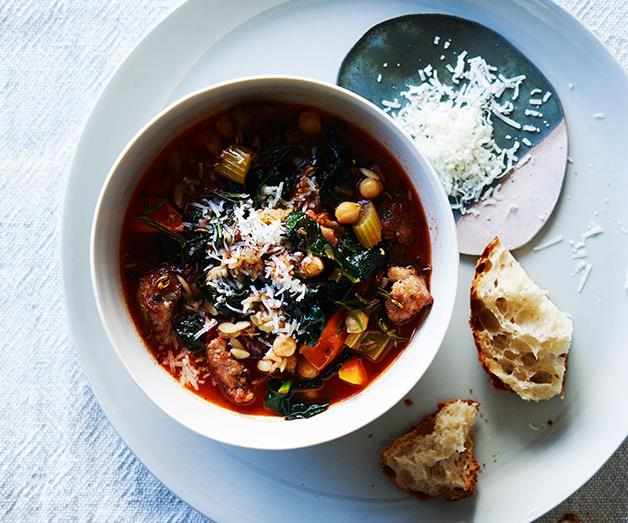 "**[Sausage, cavolo nero and chickpea minestrone](https://www.gourmettraveller.com.au/recipes/fast-recipes/sausage-cavolo-nero-and-chickpea-minestrone-13838|target=""_blank""