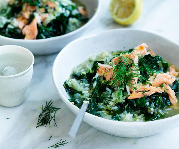 "**[Silverbeet soup with rice, lemon and smoked trout](https://www.gourmettraveller.com.au/recipes/fast-recipes/silverbeet-soup-with-rice-lemon-and-smoked-trout-13755|target=""_blank""