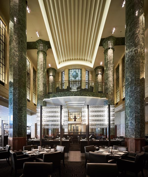 The grand dining room at Rockpool Bar & Grill.